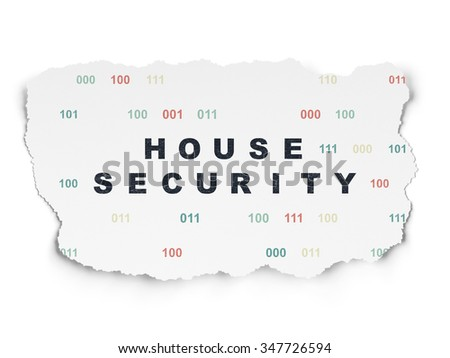 Security concept: Painted black text House Security on Torn Paper background with  Binary Code