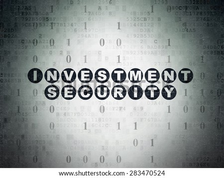 Security concept: Painted black text Investment Security on Digital Paper background with Binary Code, 3d render - stock photo