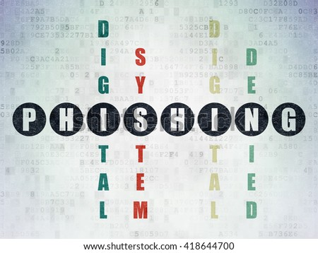Security concept: Painted black word Phishing in solving Crossword Puzzle on Digital Data Paper background - stock photo