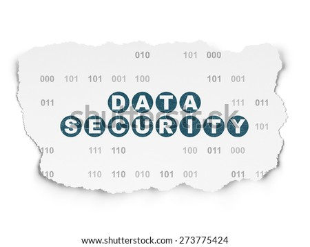 Security concept: Painted blue text Data Security on Torn Paper background with  Binary Code, 3d render - stock photo