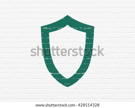 Security concept: Painted green Contoured Shield icon on White Brick wall background - stock photo