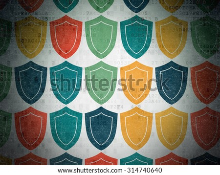 Security concept: Painted multicolor Shield icons on Digital Paper background
