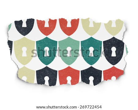 Security concept: Painted multicolor Shield With Keyhole icons on Torn Paper background, 3d render - stock photo
