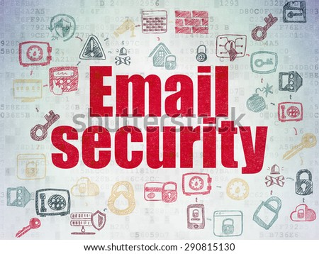 Security concept: Painted red text Email Security on Digital Paper background with  Scheme Of Hand Drawn Security Icons, 3d render - stock photo