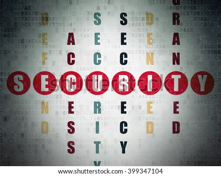 Security concept: Painted red word Security in solving Crossword Puzzle on Digital Paper background - stock photo