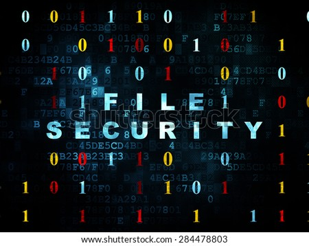Security concept: Pixelated blue text File Security on Digital wall background with Binary Code, 3d render