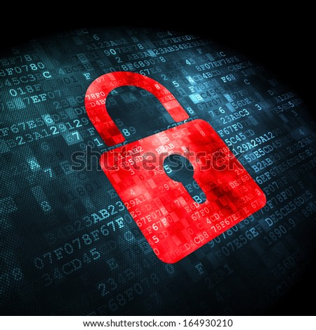 Security concept: pixelated Closed Padlock icon on digital background, 3d render - stock photo