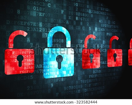 Security concept: pixelated Locks icon on digital background - stock photo