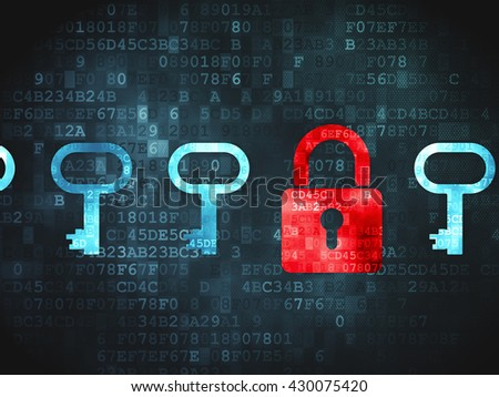 Security concept: pixelated Padlock And Key icon on digital background - stock photo