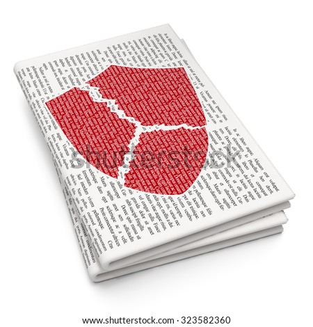 Security concept: Pixelated red Broken Shield icon on Newspaper background - stock photo