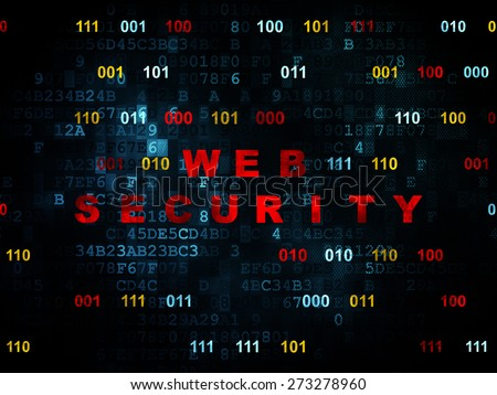 Security concept: Pixelated red text Web Security on Digital wall background with Binary Code, 3d render - stock photo