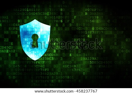 Security concept: pixelated Shield With Keyhole icon on digital background, empty copyspace for card, text, advertising