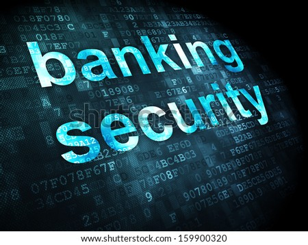 Security concept: pixelated words Banking Security on digital background, 3d render