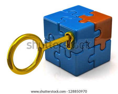 Security concept. Puzzle cube and golden key.