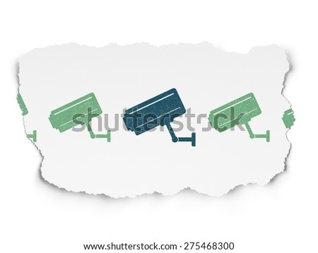 Security concept: row of Painted green cctv camera icons around blue cctv camera icon on Torn Paper background, 3d render - stock photo