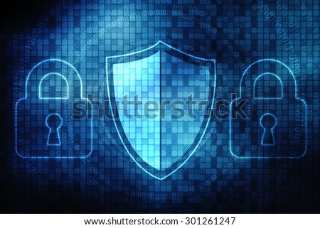 Security concept: Shield With Keyhole on digital background