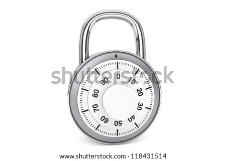 Security concept. Silver combination padlock on a white background