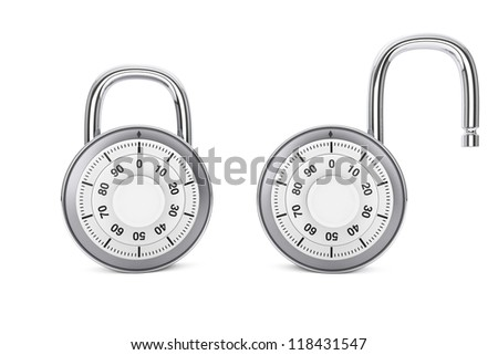 Security concept. Silver combination padlocks in open and close position on a white background