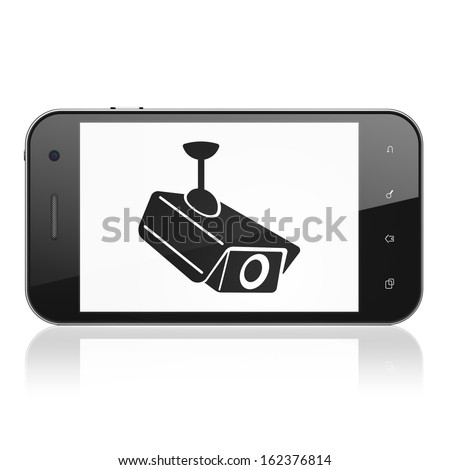 Security concept: smartphone with Cctv Camera icon on display. Mobile smart phone on White background, cell phone 3d render - stock photo