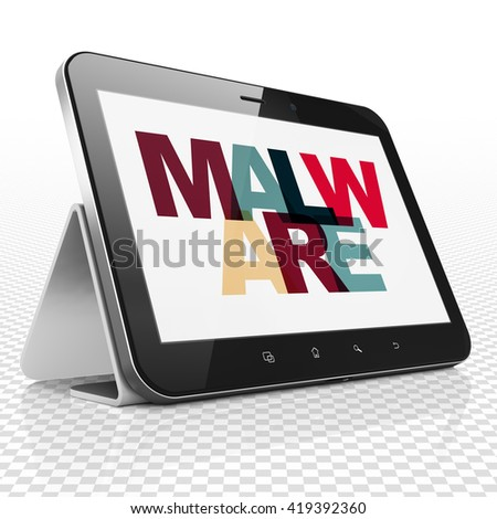Security concept: Tablet Computer with Painted multicolor text Malware on display, 3D rendering