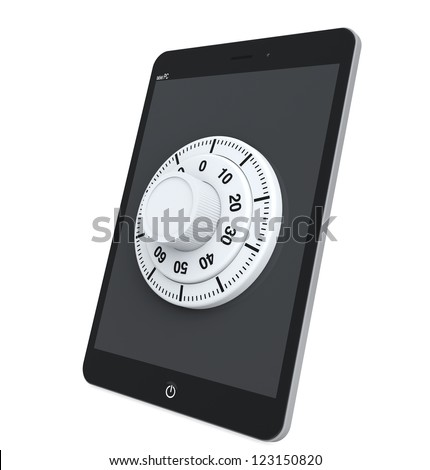 Security concept. Tablet PC with Lock on a white background - stock photo