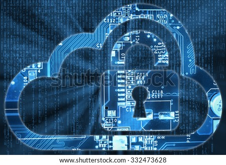 Security concept with cloud and lock in electronic circuit      - stock photo