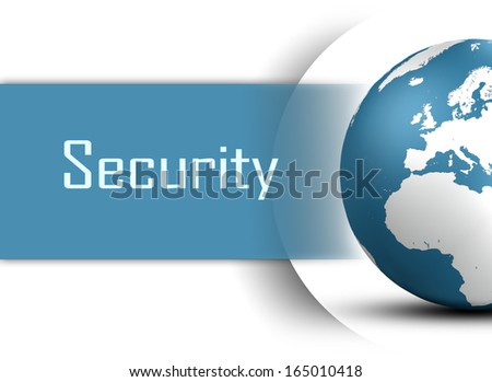 Security concept with globe on white background