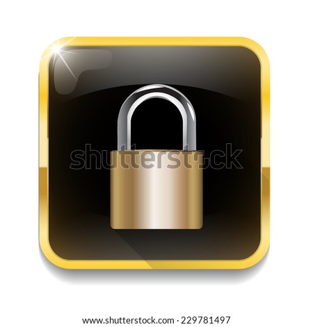 security concept with locked combination pad lock With long shadow over app button