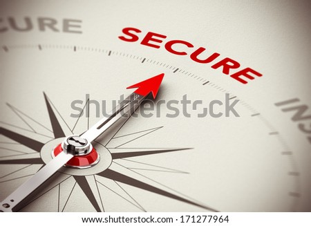 Security consulting concept, Compass needle pointing the word secure, red and brown tones with blur effect. - stock photo