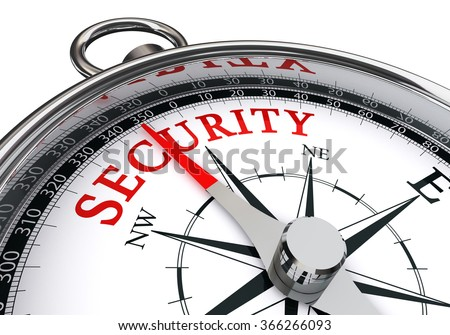 security direction indicated by concept compass, isolated on white background