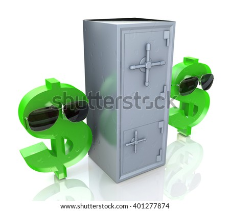 Security dollar symbol and Banking safe. 3D rendered illustration - stock photo