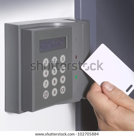 Security entrance touch pad - stock photo