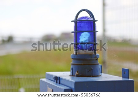Security flash blue light sign. - stock photo