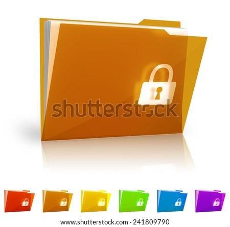 Security folder with clipping path. - stock photo