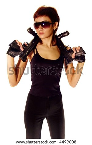 Security girl with 2 guns. Isolated on white. - stock photo
