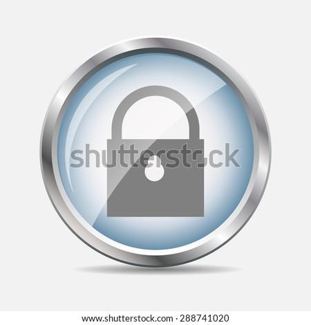 Security Glossy Icon  Illustration.  - stock photo