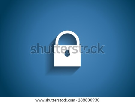 Security Glossy Icon  Illustration on Blue Background.  - stock photo