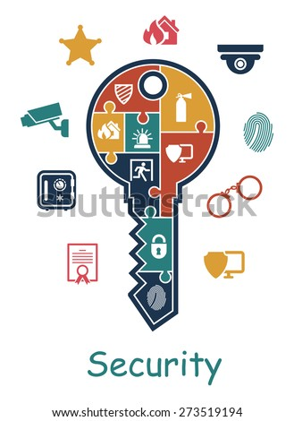 Security icon with a key containing puzzle multiple icons online security - stock photo
