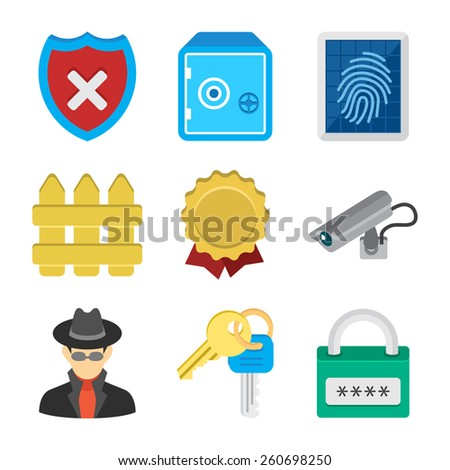 Security icons isolated on a white background. This icon set is useful for secure apps. - stock photo