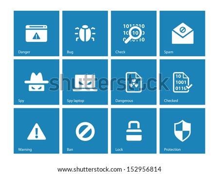 Security icons on blue background. See also vector version. - stock photo