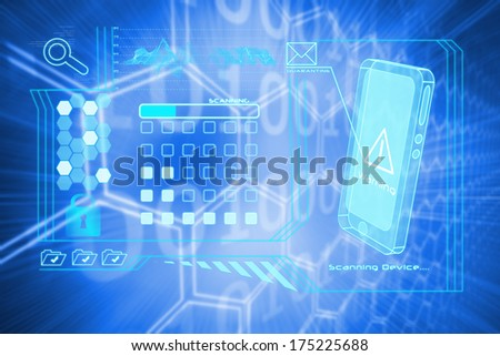 Security interface against background with shiny hexagons - stock photo