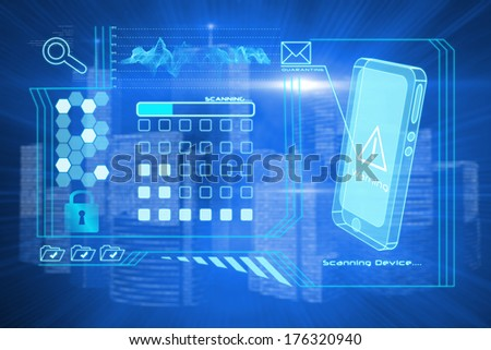Security interface against futuristic shiny cityscape - stock photo