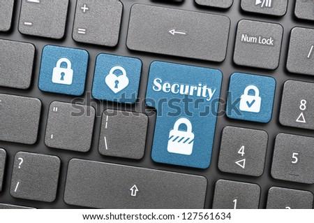 Security key on keyboard - stock photo