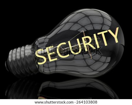 Security - lightbulb on black background with text in it. 3d render illustration. - stock photo