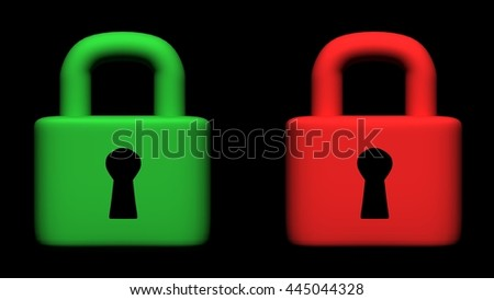 Security lock conceptual image, 3D illustration