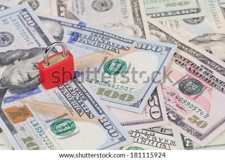 Security lock on money background - stock photo
