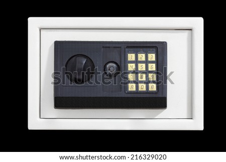 Security metal safe isolated on black background with clipping path