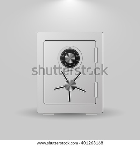 Security Metal Safe on White Background.