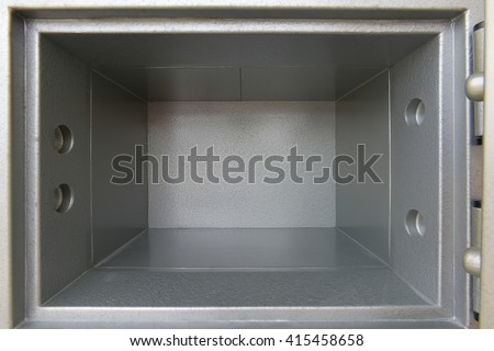 Security metal safe with empty space inside open isolated on white background. This has clipping path. - stock photo