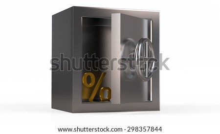 Security metal safe with golden symbol inside. - stock photo